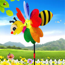 3D Bee Windmill Wind Spinner Outdoor Decor Lawn Plastic Whirligig Yard Garden