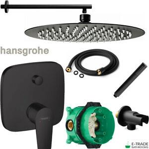 HANSGROHE BLACK 2 WAY MIXER TRIM TALIS E WITH IBOX & ROUND RAIN SHOWER 30cm SET