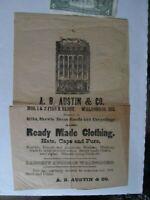 RARE 1850 Antebellum Antique Package Advertising Wrapping Paper, Waldoboro Maine