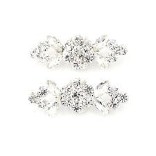 2Pcs/Pair Shoes Clips Rhinestone Crystal Flower Buckle Bridal Wedding Decor Va