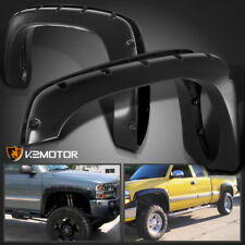 99-06 Chevy Silverado GMC Sierra Pocket Style Black Bolt On Rivet Fender Flares