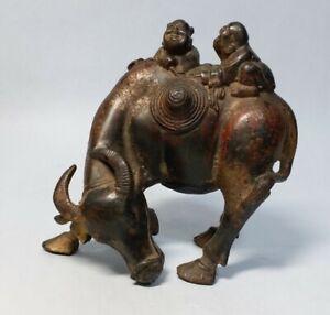 Vintage Children Riding bull Bronze Figure Statue Sculptures
