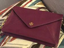 EUC Tory Burch Robinson 2WAY Purple Saffiano Leather Clutch Shoulder bag