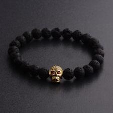 Fashion Man's Zircon Skull Head Black Lava Stone Macrame Bracelets Jewelry Gift