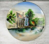 Decorative Plate marked EN Landscape Bridge Swann Wall Hanging Charger