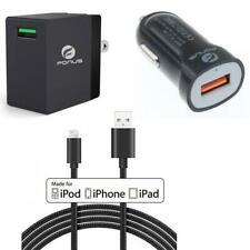 3-IN-1 ADAPTIVE FAST HOME CAR CHARGER USB CABLE COMBO U4G for IPHONE IPAD IPODS