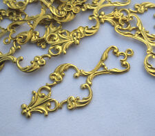 Raw Brass Connector Earrings Findings Stamping Filigree bf032 (10pcs)