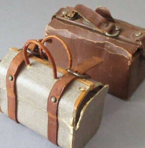 2 Antique Dresden CANDY Boxes Miniature SUITCASES Cardboard LEATHER Brass DOLLS