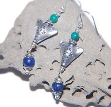 Navy Blue LAPIS LAZULI Gemstone & Tibetan Triangle Sterling Silver Earrings