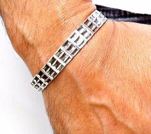 Handmade sterling silver cuff men bracelet bangle solid 925 artisan wide chunky