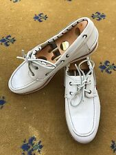 Gucci Mens Shoes White Canvas Loafers UK 10.5 US 11.5 EU 44.5 Deck Boating