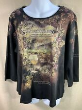 Cactus wine country women's blouse top size X Large 3/4 sleeves Stretch Sequins1