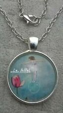 Pendant Silver Colour Necklace & Chain Beautiful Poppy Girl on Bubble Glass Dome