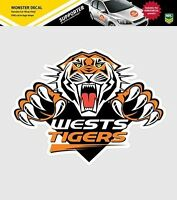 620158 WESTS TIGERS MONSTER DECAL PRIMARY NRL CAR STICKERS ITAG