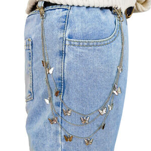 Butterfly Belt Waist Pant Chain MultiLayer HipHop Hook Trouser Keychain  Jewelry
