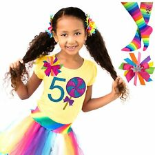 Candy Lollipop 5th Birthday Girl Shirt Rainbow Tutu Outfit Socks Name Hair Bow 5