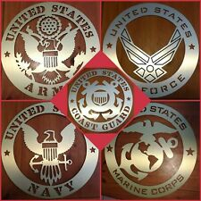 MILITARY Brushed Metal Sign Army Navy Air Force Marines Coast Guard  Space Force