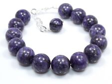 "Natural Rare Sugilite 925 Sterling Silver Designer Bracelet 12 MM 8"" Birthday us"