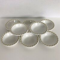 "Buffalo China 8 Dessert Berry Bowls 4.25"" White Gold Scroll Restaurant Ware"