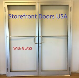 COMMERCIAL Butt Hinge 6'0 X 7'0 CLEAR PAIR STOREFRONT DOOR, FRAME,closer & glass