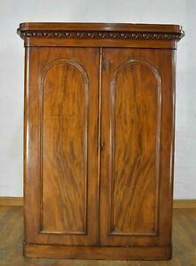 Antique Victorian large flame mahogany double wardrobe with fitted interior