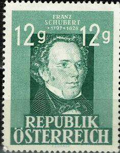 Austria Music Famous Classical Composer Franz Schubert stamp 1956 MLH A-8