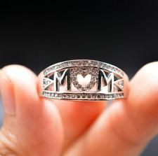 Love Mum Silver MOM Diamond Ring Jewelry Family Birthday Best Gift Size 6 - 10