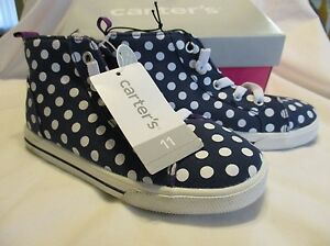 """CARTERS Toddler Girls """"Angie"""" Style Navy Polka Dot High Top Sneakers New In Box"""