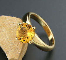 Solitaire Ring with Citrine Flashing Orange-Yellow 2,38 Carat 750 Yellow Gold