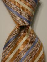 LUIGI BORRELLI NAPOLI Men's Silk Necktie ITALY Luxury STRIPED Orange/Blue EUC