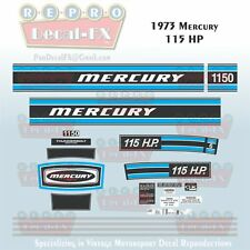 1973 Mercury 115 HP  Outboard Reproduction 22 Piece Marine Vinyl Decals 1150