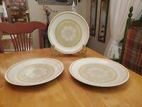 "MCM Franciscan Earthenware 10.75"" Dinner Plates Hacienda Green Set of 3 EUC"
