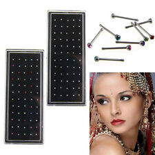Lot Colors Crystal  Surgical Steel Nose Ring Ear Studs Nose Body Pierced Jewelry
