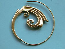 Tribal Ethnic Gypsy. Spiral Brass Earrings pair (ESb14)