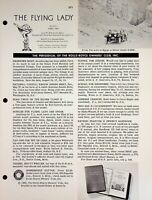 Vtg The Flying Lady  The Bulletin of the Rolls Royce Owners Club Apr 1962 m1111