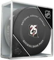 Arizona Coyotes 25th Anniversary 2021 Official Game Hockey Puck in Display Cube