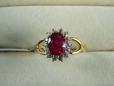 1.75Ct African Ruby & Natural Zircon Cluster 14K Y Gold/925 Ring Size Q