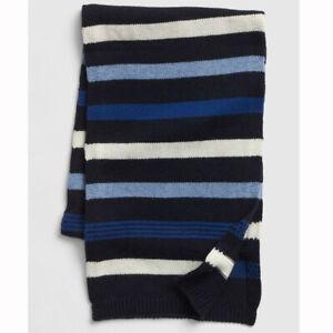 NEW Gap Crazy Mens Womens Unisex Blue Ivory Striped Merino Wool Blend Scarf NWT
