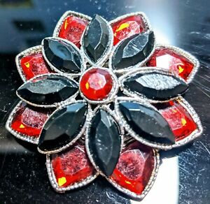 Red on Red Floral Rhinestones Silver Tone 70s Pin Brooch