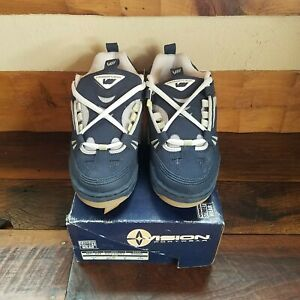 NOS VINTAGE VISION STREET WEAR Leather NAVY/GRY SIZE 9 MENS SHOES( extra laces)