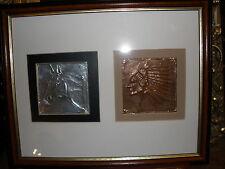 Wonderful metalwork: copper & Foil;American Indian and Horse-prof. Framed-signed