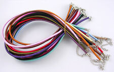 5 x 18mm Mixed Colours Silk Necklace Cords With Brass Clasp 5mm