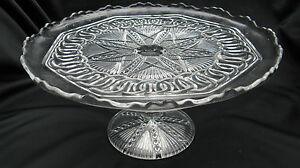 1912 EAPG Pattern Glass Higbee Yoke & Circle, New Era 10 Inch Cake Stand