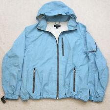 Lands' End Blue White Boys Hooded Jacket Coat Zip Front Nylon Size Large 14-16