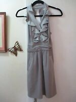 BCBGeneration  -  Gray V-neckline Mini Dress w/Ruffles  -  Size 4  -  Sleeveless