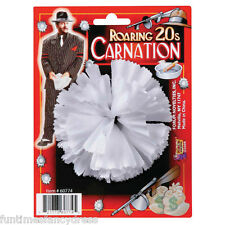 1920's Men's White Gangster Carnation Buttonhole Al Capone Babyface Fancy Dress