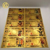 Lot 10 Billets 10000 Yen Dragon Ball Z DBZ Gold/Carte Card Or DB Goku DBGT DBS