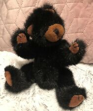"""TY 1992 Black/Tan Bear 9"""" Fully Jointed 1st Gen Ex Conditon Soft Toy"""