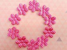 10 x Pink Polka Dots Fabric Flower Appliques Embellishments Scrapbook Hair Clips