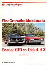 1967 OLDSMOBILE 4-4-2 VS 1966 GTO ~ GREAT 9-PAGE ARTICLE / AD